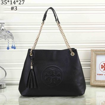 Tory Burch 2018 new classic embossed logo simple fashion chain shoulder bag #3
