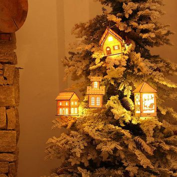 Wooden House Light Christmas Tree Decor Festival Hanging Decoration Ornaments Cabins Pendant