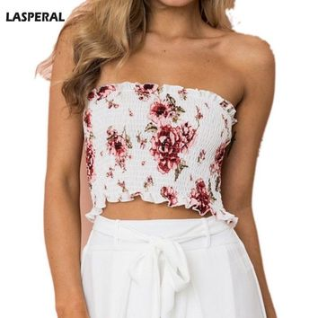 LASPERAL Crop Top Strapless Women Tops Floral Printed Cropped Ladies Female Sexy High Elastic Ultra Boost Tops Bra Girls