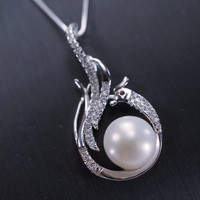 Genuine Pearl Necklace, Luxury Sterling Silver Bird Necklace - Phoenix Necklace