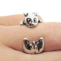Baby Hamster Gerbil Shaped Animal Wrap Ring in Shiny Silver | Size 3 to 6.5 from DOTOLY