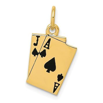 14k Yellow Gold Enameled Blackjack Playing Cards Charm