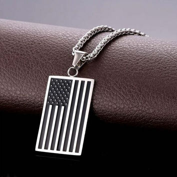 US National Flag Pendant Necklace American Fashion Jewelry Stainless Steel