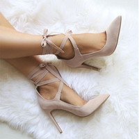 LALA IKAI Pointed Toe High Heels Cross-tied Summer Sandals Suede Leather Sexy Girl's Pumps Summer Nude Shoes for Woman-5