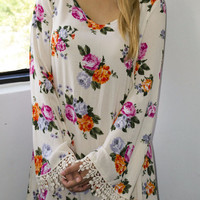 Cut Back A-Line Floral Dress