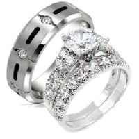 His & Hers 3 Piece Cz Sterling Silver & TITANIUM  Wedding Rings Set