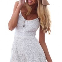 LUCLUC White Cut Out Lace Strappy Playsuits - LUCLUC