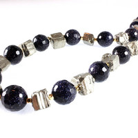 Midnight Blue Goldstone and Pyrite Necklace