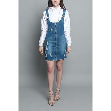 Destroyed Side Taped Denim Overall Dress RSDO3025 - KK12D