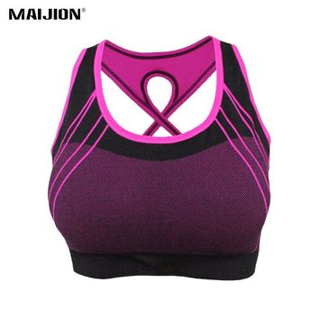 MAIJION Women Quick Dry Sports Bra Cross Back Hollow Push Up Padded Crop Tops Shockproof Fitness Underwear Yoga Running Vest Top
