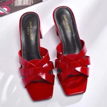 YSL Yves Saint laurent Women Fashion Casual Low Heeled Shoes Slipper Shoes