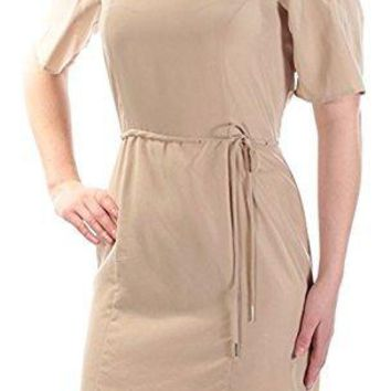 Bar III Women's Beige Cold Shoulder Short Sleeve Sheath Dress Deep Nude Size X-Small