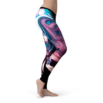 Liquid Abstract Paint V62 - All Over Print Womens Leggings / Yoga or Workout Pants