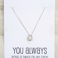 Silver Toned Heart Crystal Pendant You Always Bring a Smile to my face Gift Card Woman Fashion Necklace