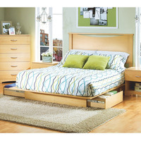 Full / Queen Platform Bed With Storage Drawers & Headboard In Natural
