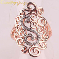 DAZZLING YANG'S Brand Cheap Sale Charming Women's Party Hollow Out Jewelry Crystal 18k Rose Gold Plated Rings Size 7.5  8.5