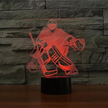 7 Color Change Bedroom Sleep Lighting 3D Ice Hockey Goalie Modelling Table Lamp Led Nightlights Usb Sports Fans Gifts Home Decor