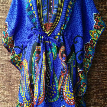 Blue Paisleys Print Hippies Boho Kaftan Mini dress Bohemian style cotton fabric Tunic Gypsy Fashion Kimono Dress Plus Size Beach cover up
