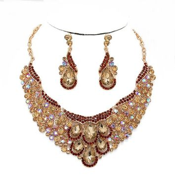 Affordable Jewelry Topaz Brown Ab Austrian Crystal Chandelier Earrings Gold Chain Pageant Necklace Set