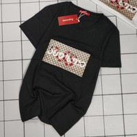 """Supreme x Gucci"" Unisex Casual Retro GG Letter Snake Pattern Print Couple Short Sleeve T-shirt Top Tee"