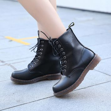 Leather Lace Up Womens Combat Military Ankle Boots Shoes