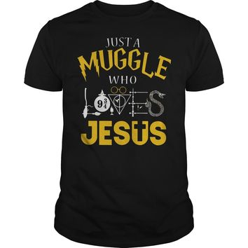 Harry Potter just a Muggle who Jesus shirt Premium Fitted Guys Tee