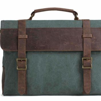 Handmade Waxed Canvas with Leather Briefcase Messenger Bag - Olive Green