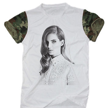 Lana Del Rey T-Shirt White Camo Camouflage Indie Rocker Hipster Shirt Size S M L