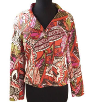 new W Work to Weekend womens Artsy Brown Fuchsia Burnt Orange Jacket Size 8