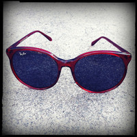 Vintage Ray-Ban Sunglasses Red Oversize Style C Frames with Mirrored Lenses