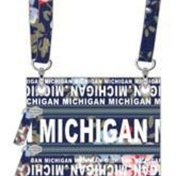 ICIKG8Q Michigan Navy Floral Neck Wallet