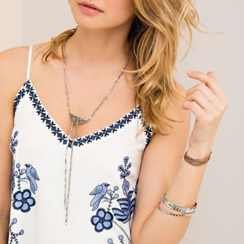 Ivory Embroidered Cami Dress