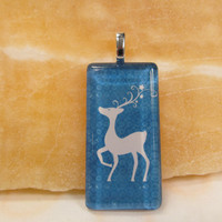 Christmas- Blue & White Reindeer - Glass Pendant - Domino