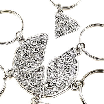 Bestfriends gifts, Silver Pizza keyrings, keychains, bag charms Item No.67