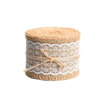 Outus Natural Burlap Craft Ribbon Roll with White Lace, 156 Inches