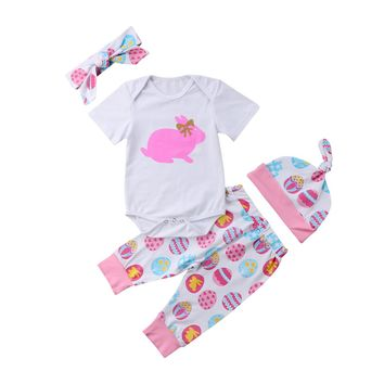 Newborn Baby Girl Easter Bunny Short Sleeve Clothes Romper Bodysuit Leggings 4pcs Outfit Set