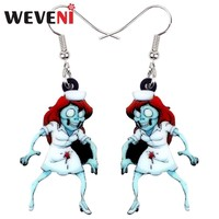 WEVENI Acrylic Halloween Nurse Zombie Earrings Drop Dangle Novelty Game Party Jewelry For Women Girls Gift Charms Accessories
