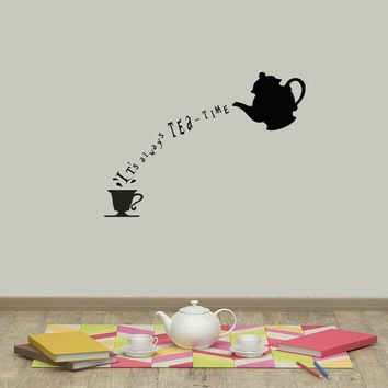 Alice In Wonderland Wall Decal Quote Vinyl Sticker Decals Quotes Itu0027s  Always Tea Time Wall Quote Part 16