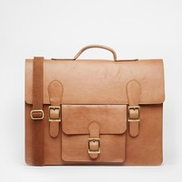 ASOS Leather Satchel with Front Pocket
