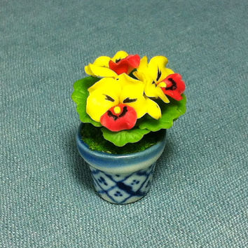 Flower Plant Pansy Viola Red Yellow Miniature Clay Polymer Fimo Garden Flowers Hand Made Supplies Cute Tiny Small Ceramic Pot Dollhouse Deco