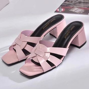 Yves Saint laurent Women Fashion Simple  Casual  High Heeled Sandals Shoes