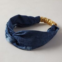 Dyed Denim Turban Headband by Anthropologie Blue One Size Hair