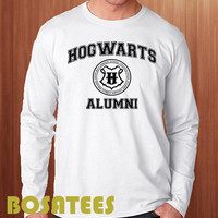 hogwarts alumni shirt harry potter long sleeve printed black and white unisex size (BS-80)