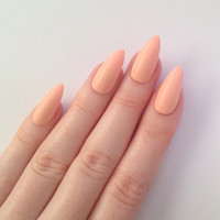 Matte Pastel Peach Stiletto nails, Nail designs, Nail art, Nails, Stiletto nails, Acrylic nails, Pointy nails, Fake nails