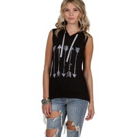 Sale-black Peace And Love Hooded Tank