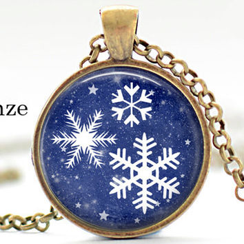 christmas white snowflakes falling silhouette snow pendant/dark blue glass cabochon dome photo pendant necklace jewelry christmas gift