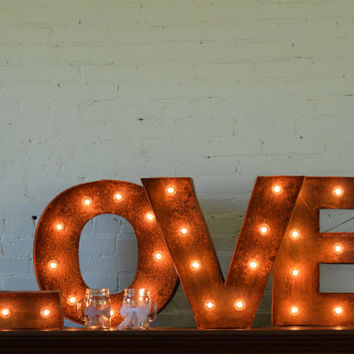 Love marquee with vintage finish