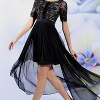 Black Lace Hi Low Formal Prom Evening Dress | DQ86140