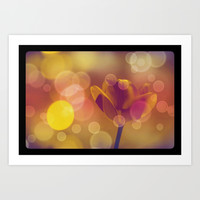 Golden Bubbles N Tulip Art Print by Minx267