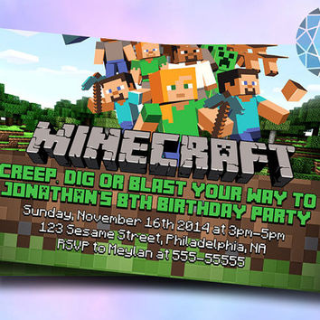 Minecraft Design Inspired For Digital File, Birthday Invitation by SaphireInvitations